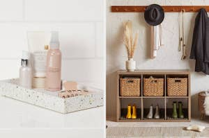 terrazzo bathroom tray and natural milk crates in a storage shelf