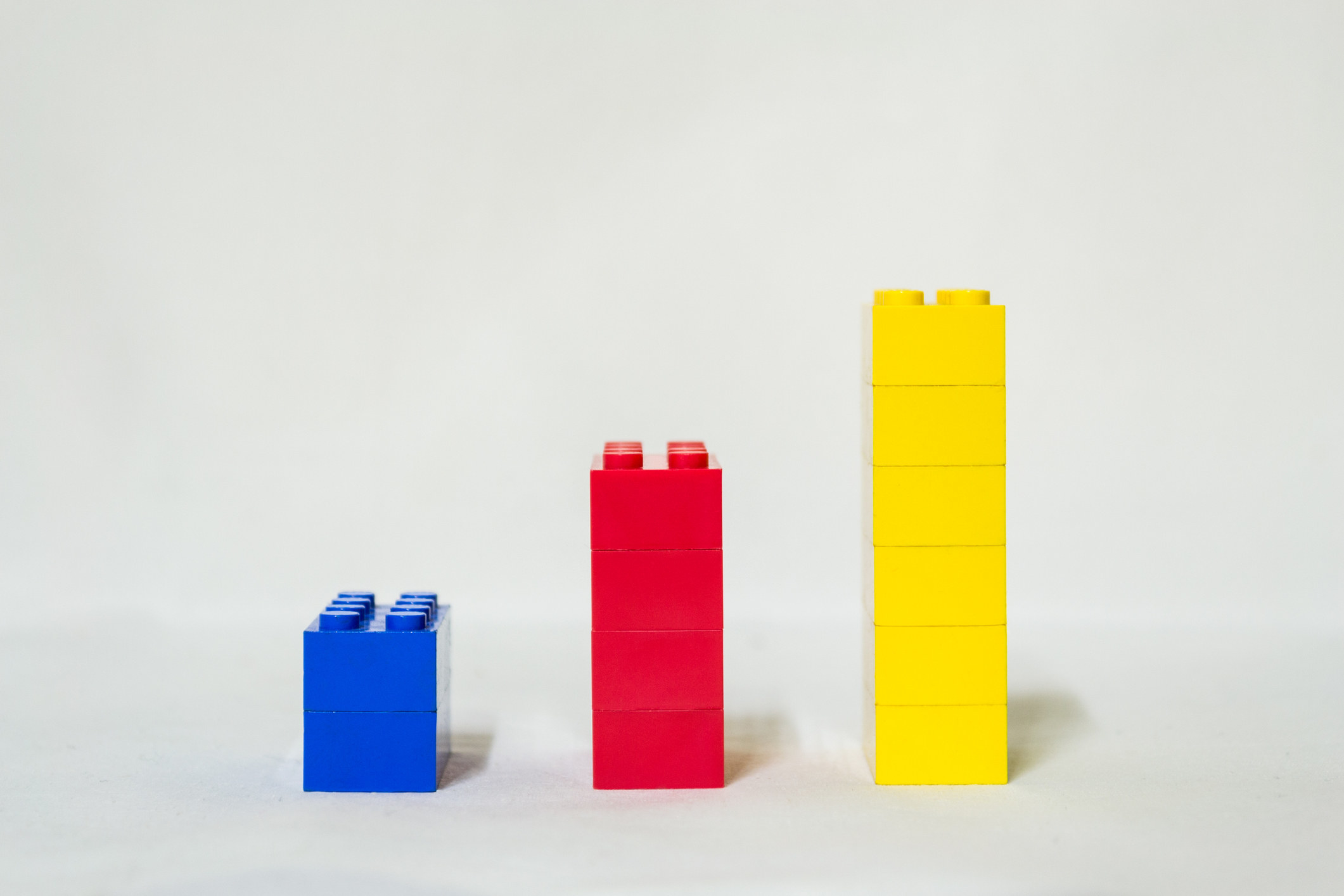 Three stacks of Lego blocks