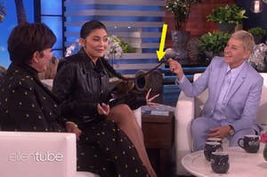 Kris and Kylie Jenner appearing on The Ellen Show