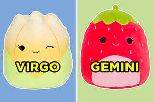 """On the left, Jeannie, the tulip Squishmallow labeled """"Virgo,"""" and on the right, Scarlet, the strawberry Squishmallow labeled """"Gemini"""""""