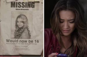 a missing poster for alison on the left and emily reading a text message on the right
