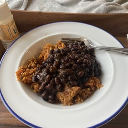 my dish of the black beans over Spanish rice