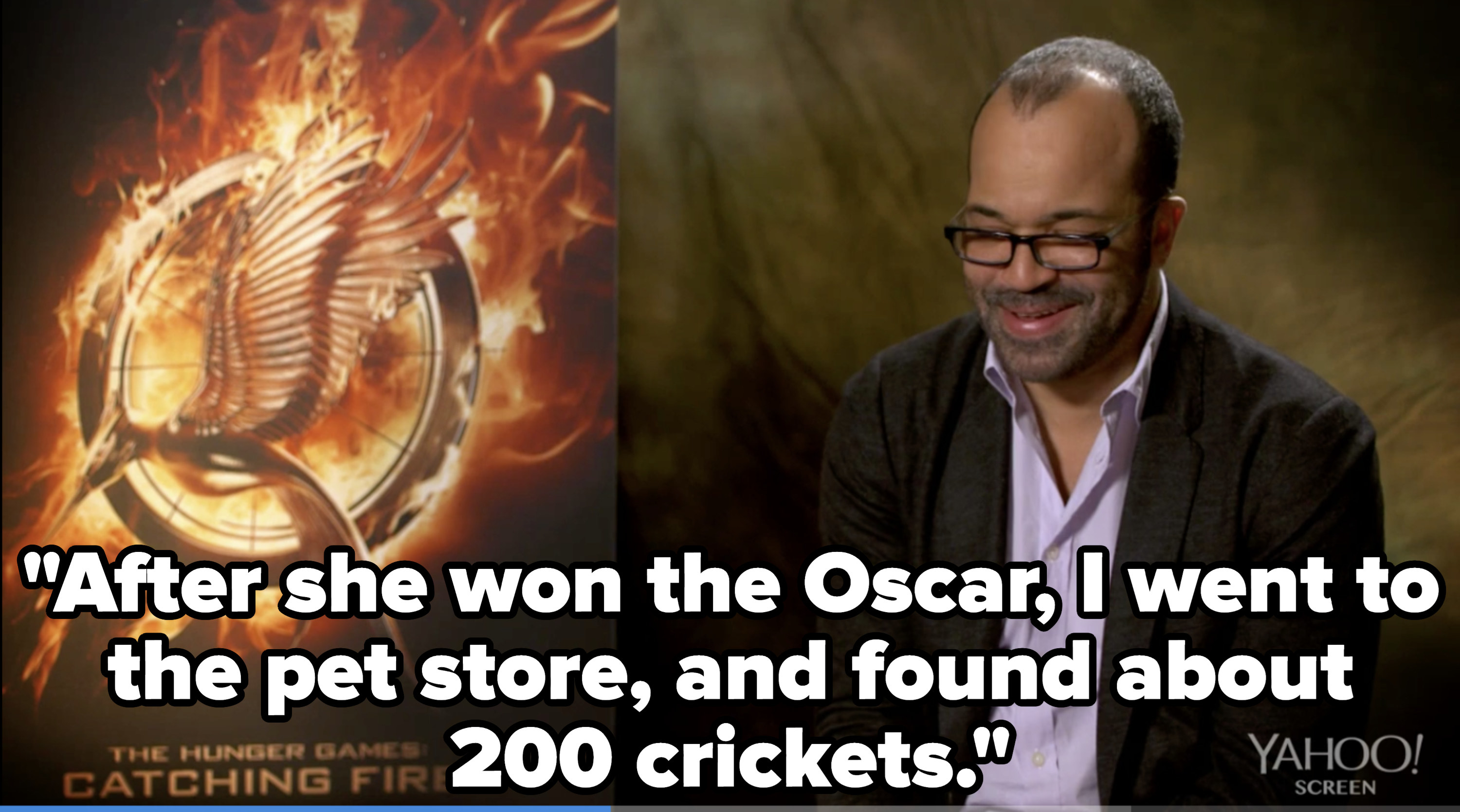 Jeffrey Wright quote: After she won the Oscar, I went to the pet store, and found about 200 crickets