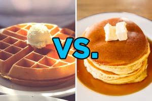 On the left, a Belgian waffle with a fluffy scoop of butter on top, and on the right, a stack of pancakes topped with syrup and a pat of butter with