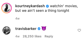 """Kourtney said """"watchin' movies, but we ain't seen a thing tonight"""" and Travis responded with a devil emoji"""