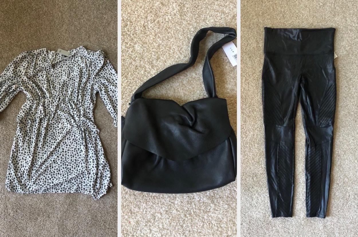 Ruffled dress, a small purse, and black leggings