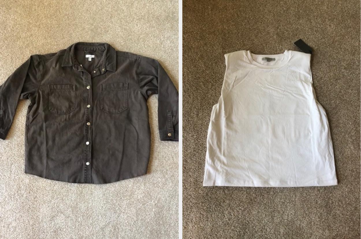 Brown denim shirt and a white tank top