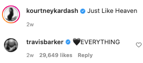 """Kourntey commented """"Just like Heaven"""" to which Travis responded """" EVERYTHING with a heart emoji"""""""