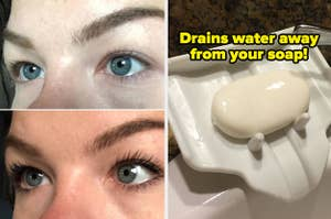 On the left, a split before and after image of a reviewer's eyes before and after lengthening mascara, and on the right a reviewer photo of a tilted soap dish with text reading