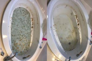 A series of customer review photos showing all the gunk coming out of their jetted tub