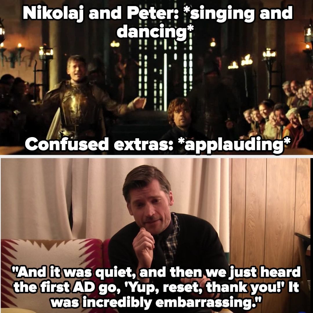 Nikolaj and Peter enter a scene singing and dancing, a move that annoyed the crew