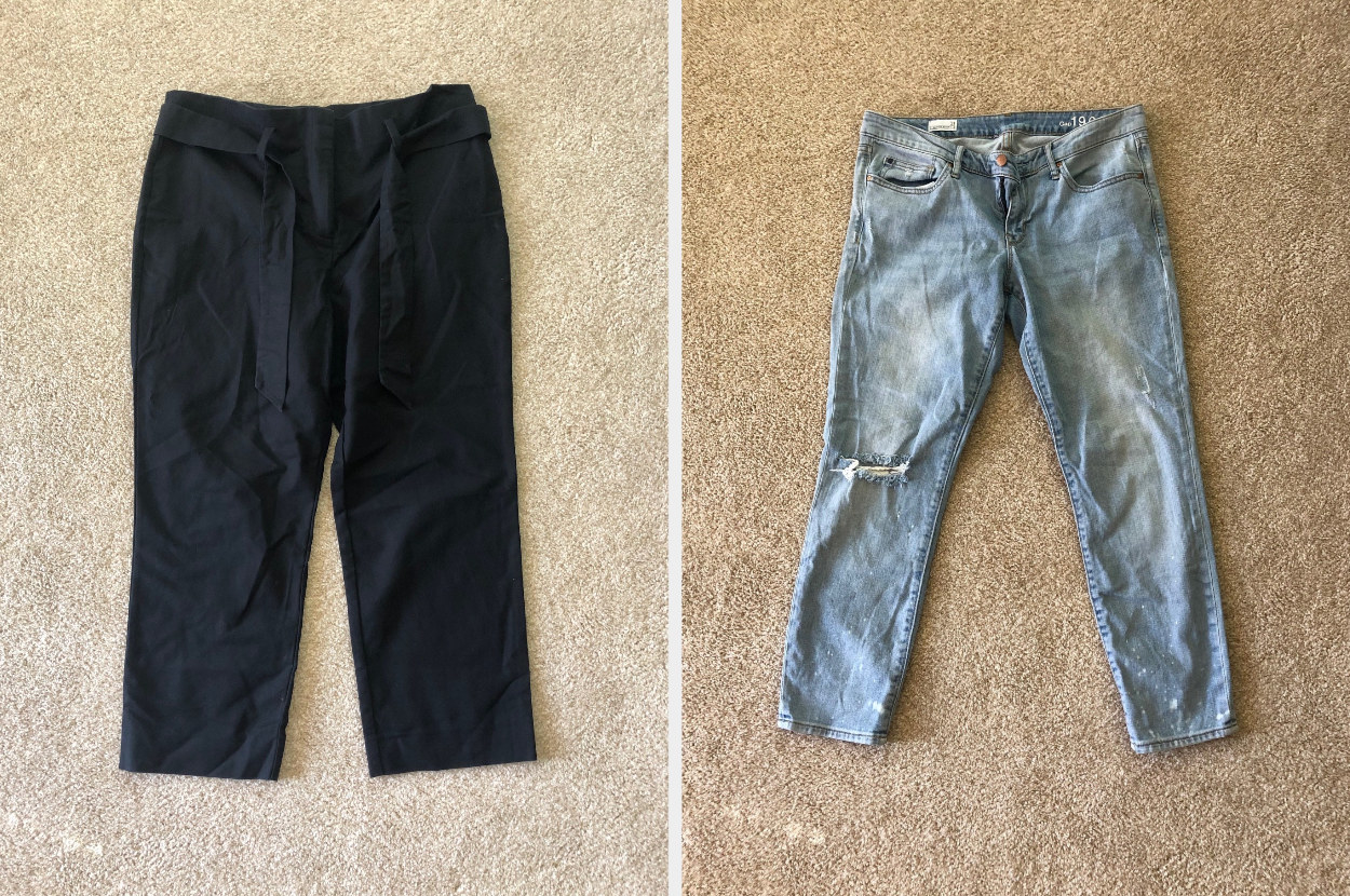 Black slacks and a pair of faded jeans