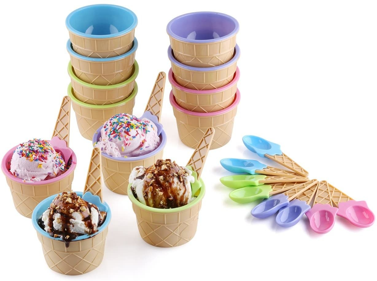 the bowls, which look like mini waffle cones with pink, green, blue, and purple interiors, and the spoons, which look like ice cream cones in matching colors
