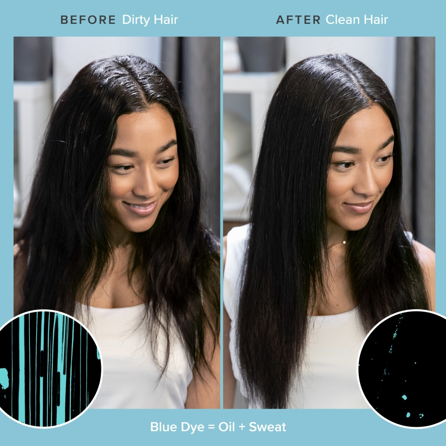 A before and after photo of a person's hair