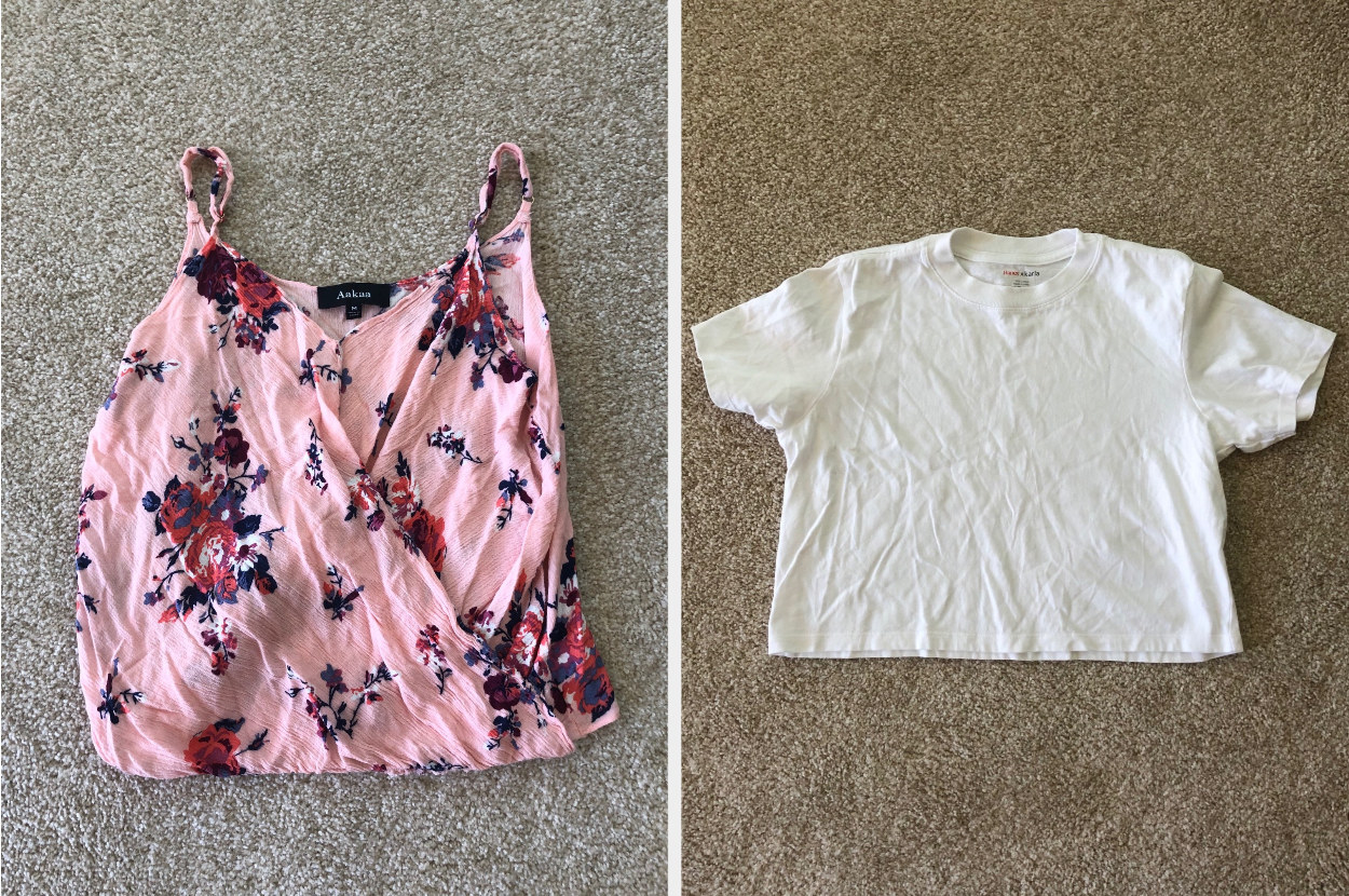 Floral tank top and a white cropped t-shirt