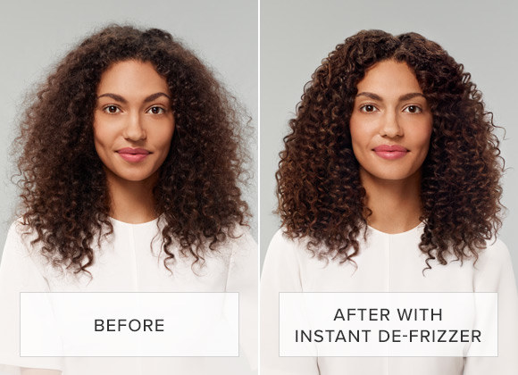 A model with frizzy hair before use, and smooth shiny hair after use