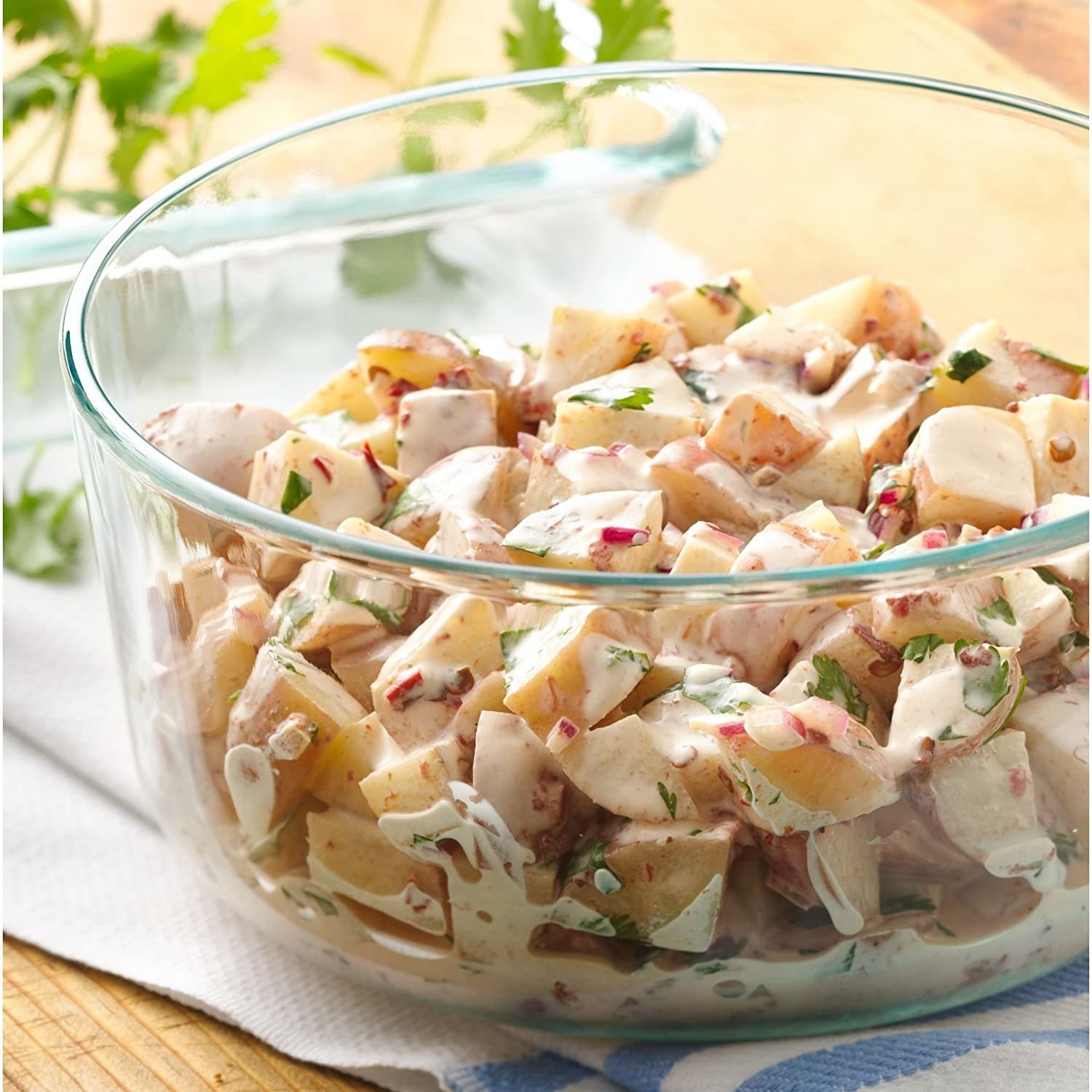 chicken salad in a glass bowl