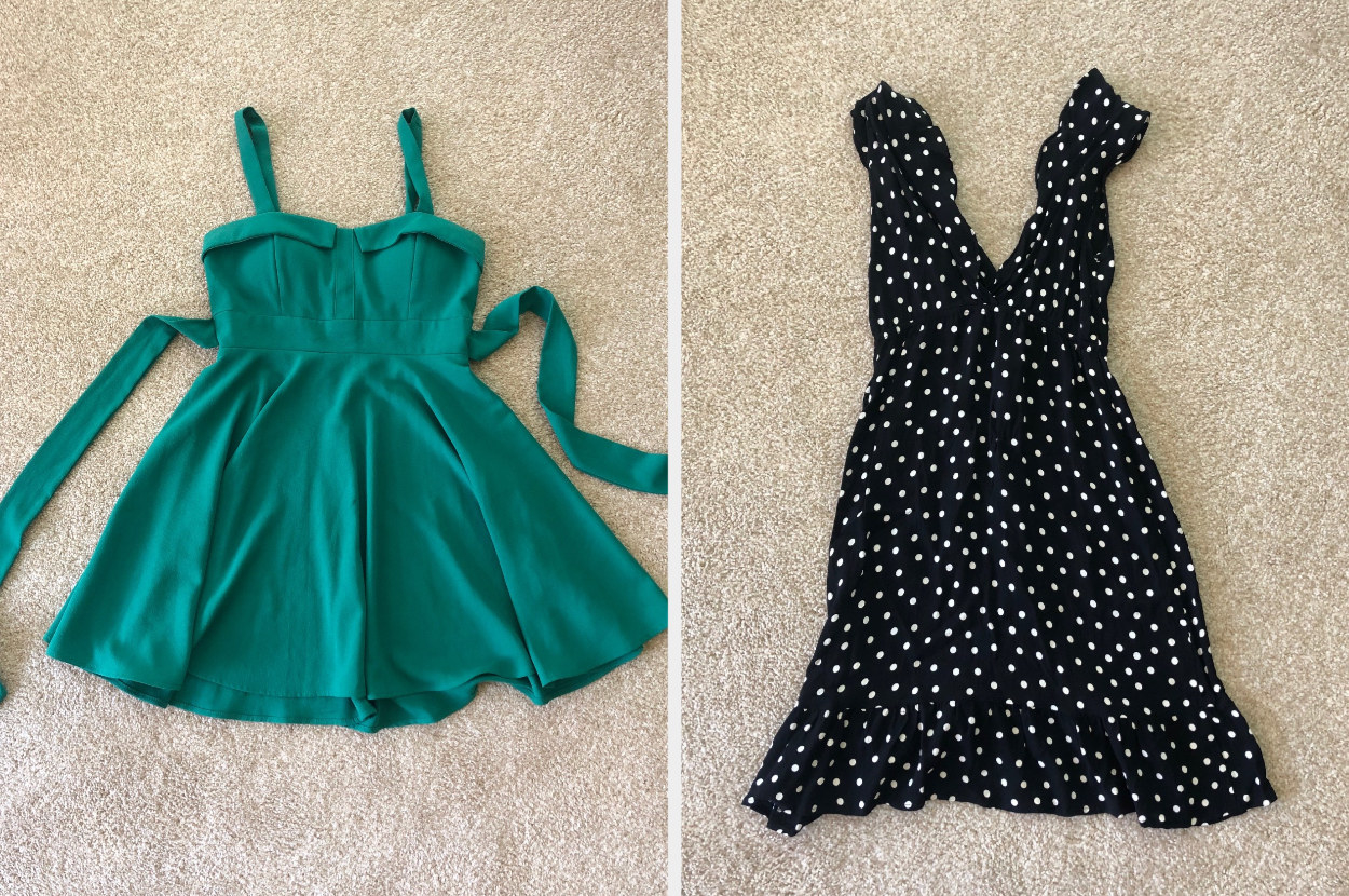 Green dress and a black and white polka dotted dress
