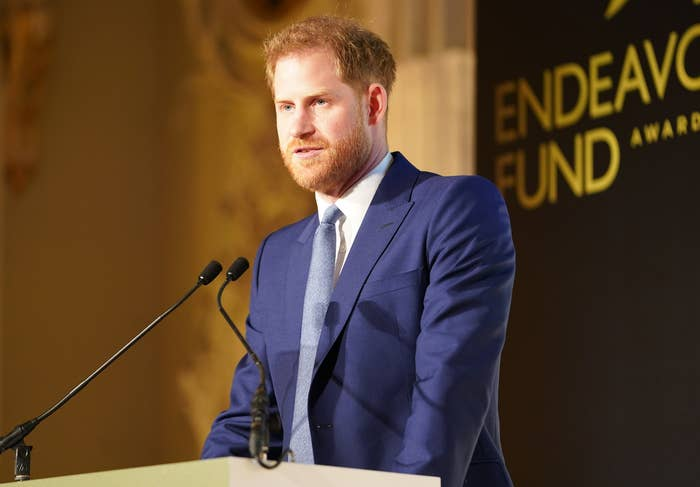 Prince Harry at the podium at the Endeavour Fund Awards