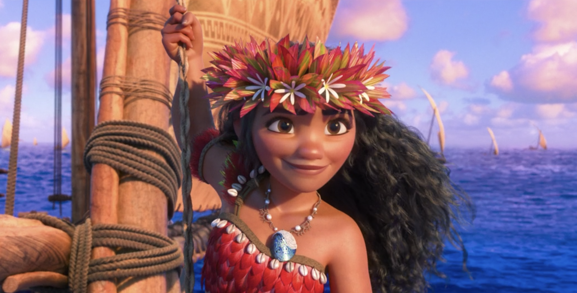 Moana grinning while she holds onto her boat