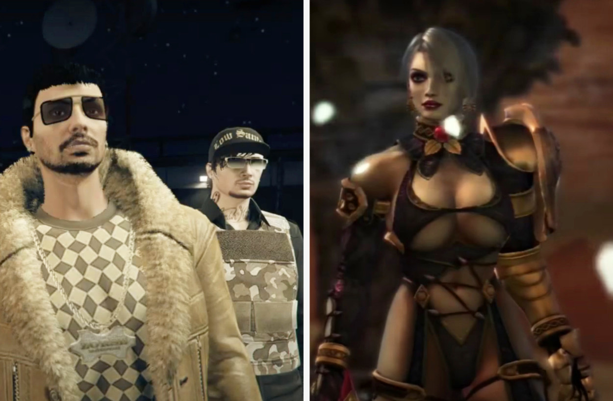 On the left are different options of male characters who are neither buff or extra attractive. On the right is a female character wearing lingerie and heavy makeup