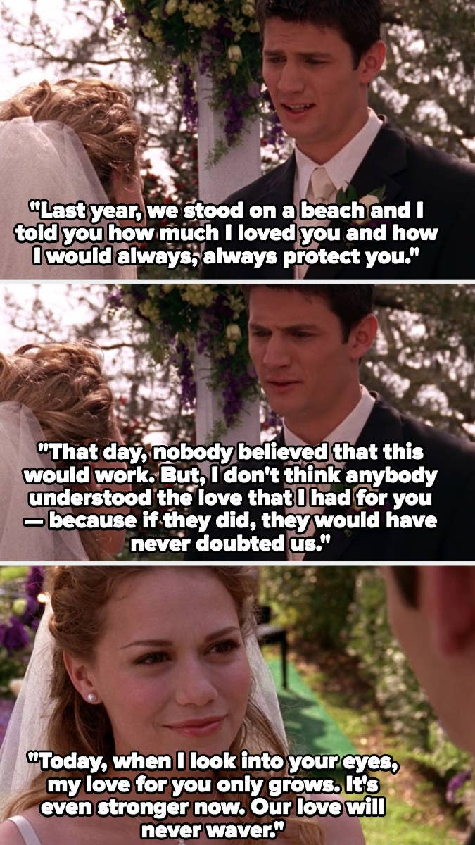 Nathan and Haley renew their wedding vows in Season 3, Nathan says their love will never waver