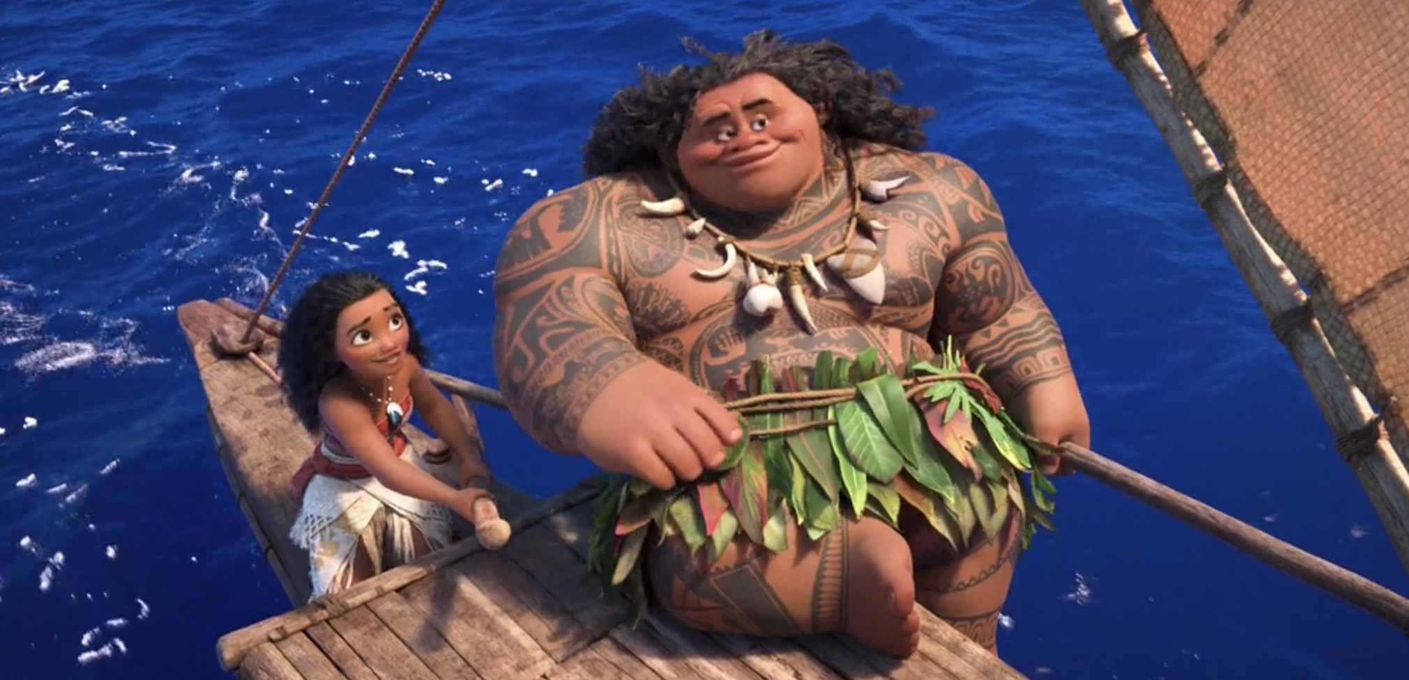 Maui teaching Moana to sail