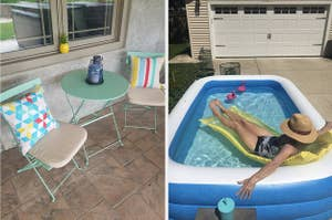 L: mint green bistro set R: Reviewer relaxing in an inflatable pool