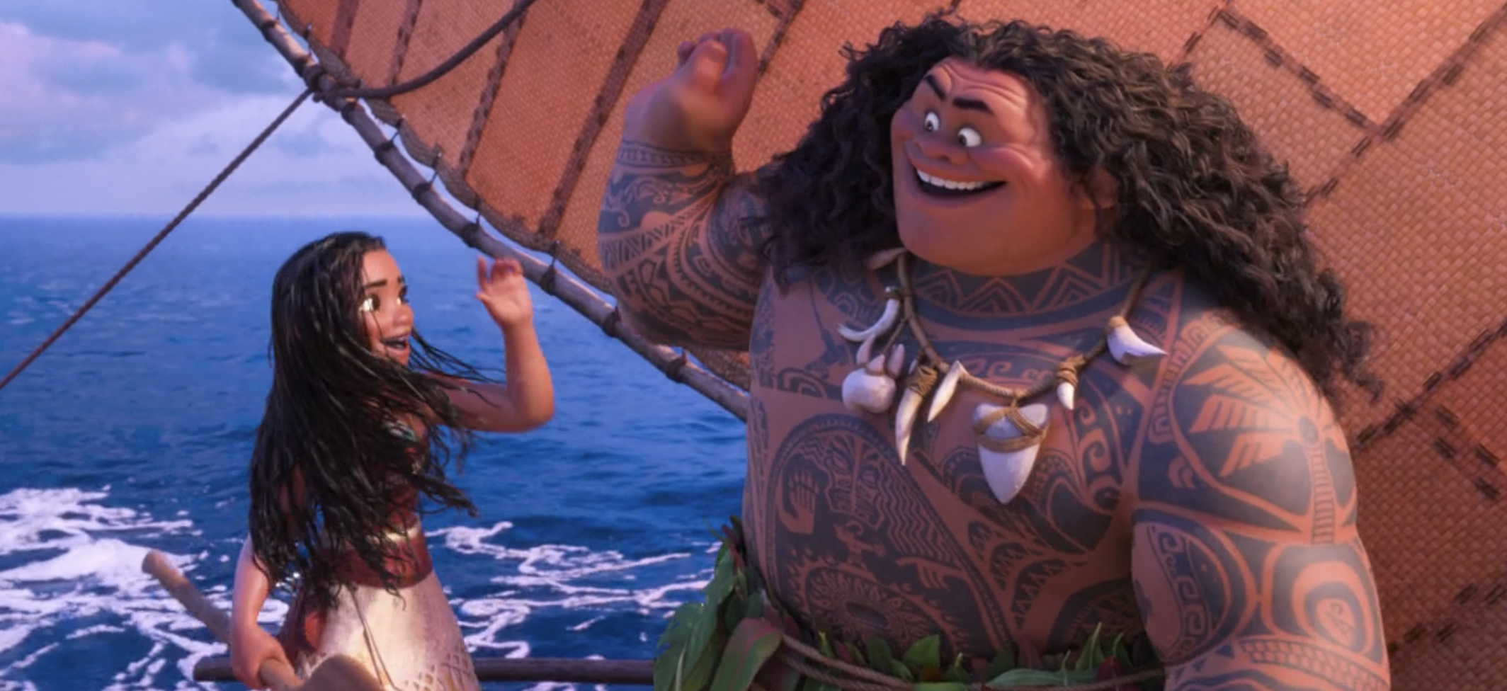 Moana and Maui giving each other a high five
