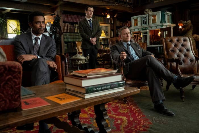 LaKeith and Daniel Craig in a scene from Knives Out