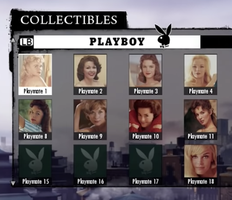 In this game, the collectible achievements are different Playboy playmates