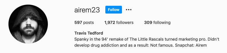 His instagram bio saying he didnt develop a drug addiction