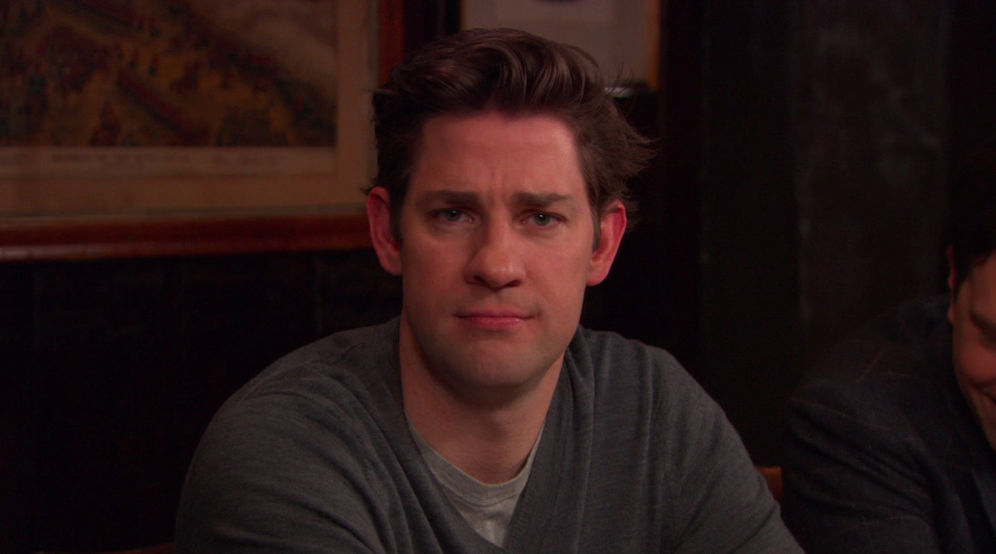 """Jim from """"The Office"""" looking confused and annoyed"""