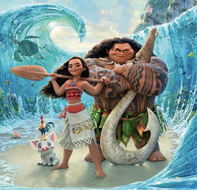 Moana standing with Maui, Pua, and Heihei