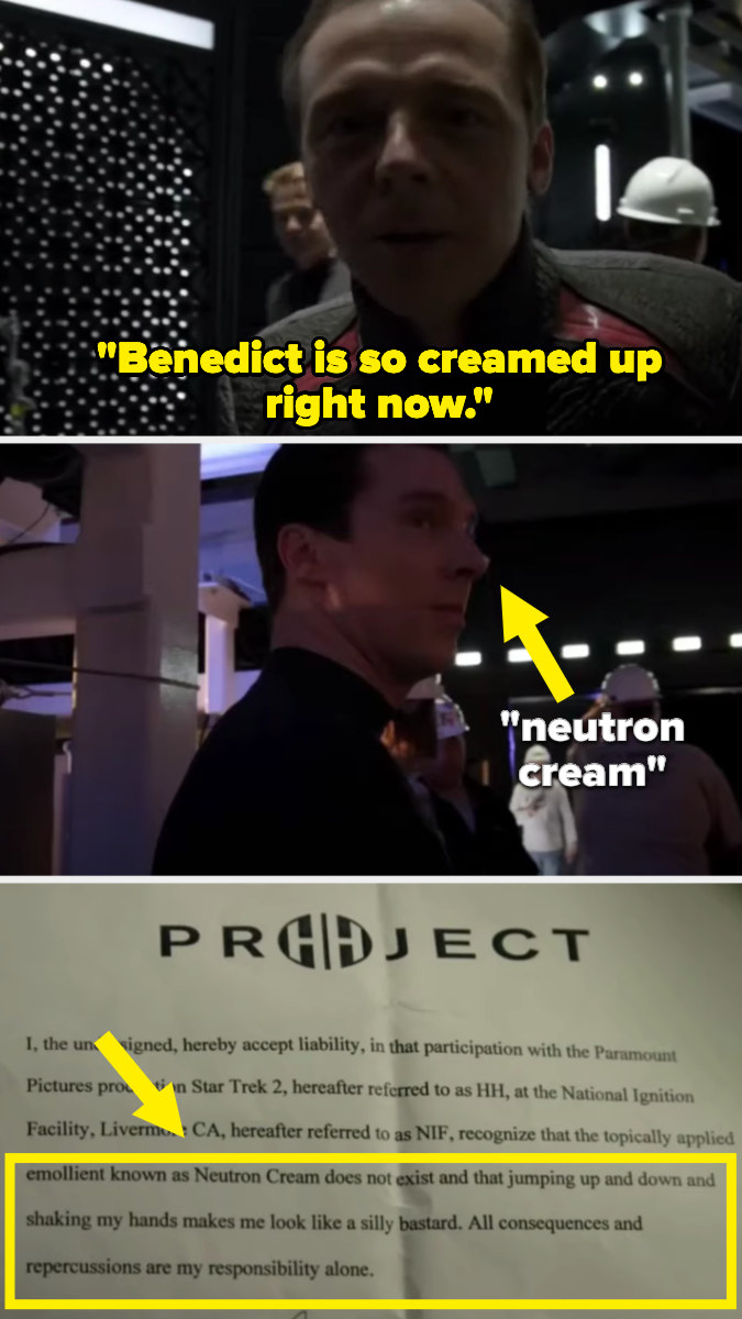 Benedict Cumberbatch wearing the fake neutron cream, and the statement he read aloud announcing that it was fake