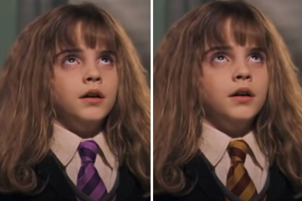 Hermione in a purple tie and Hermione in a gold and red tie