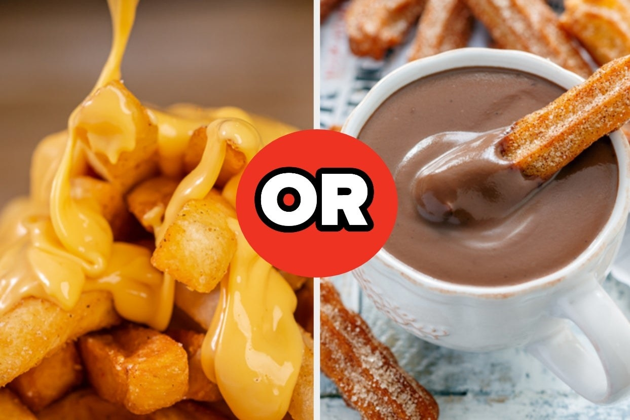 Cheese fries and churro in chocolate sauce