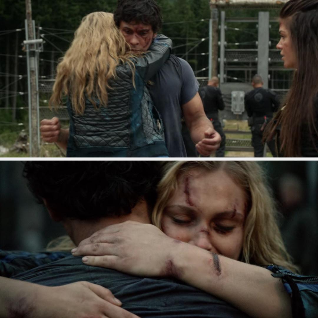 Clarke hugs Bellamy