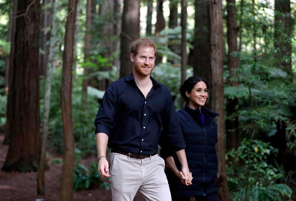 Harry and Meghan walking through a forest