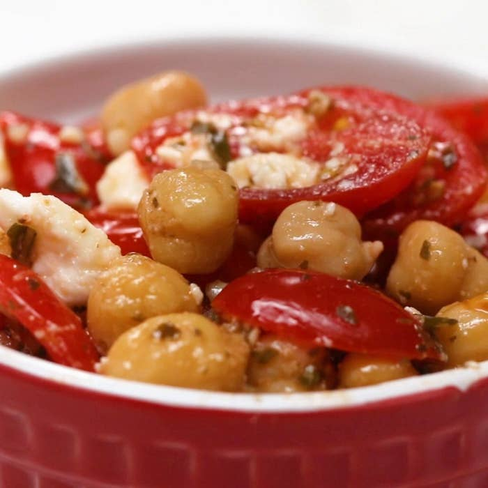 Chickpea and tomato snack mix.