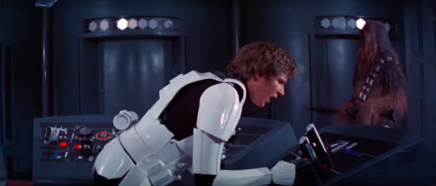 """Han Solo dressed as a Stormtrooper in """"A New Hope"""""""