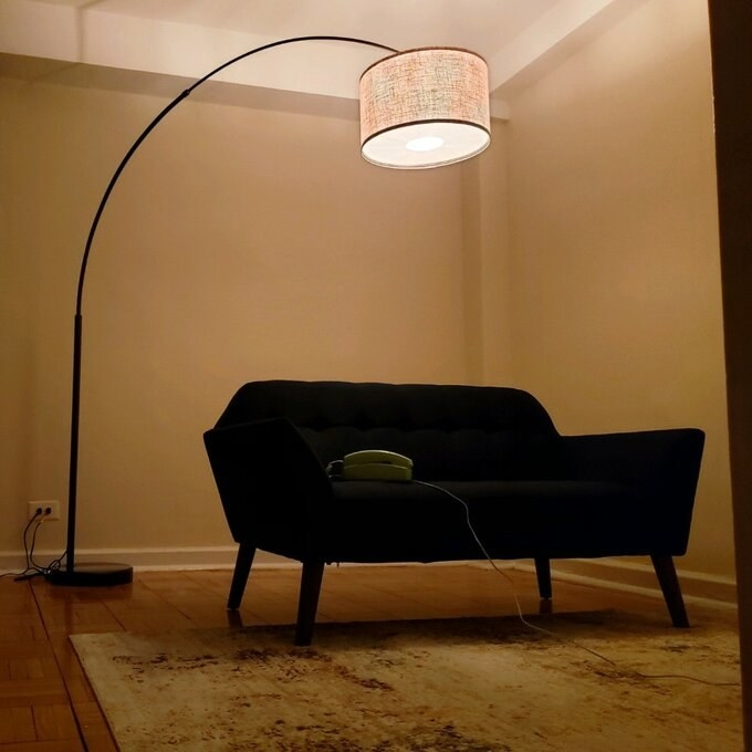 The lamp, which has a round base, a long, thin body that arcs high in the air, and a round drum shade
