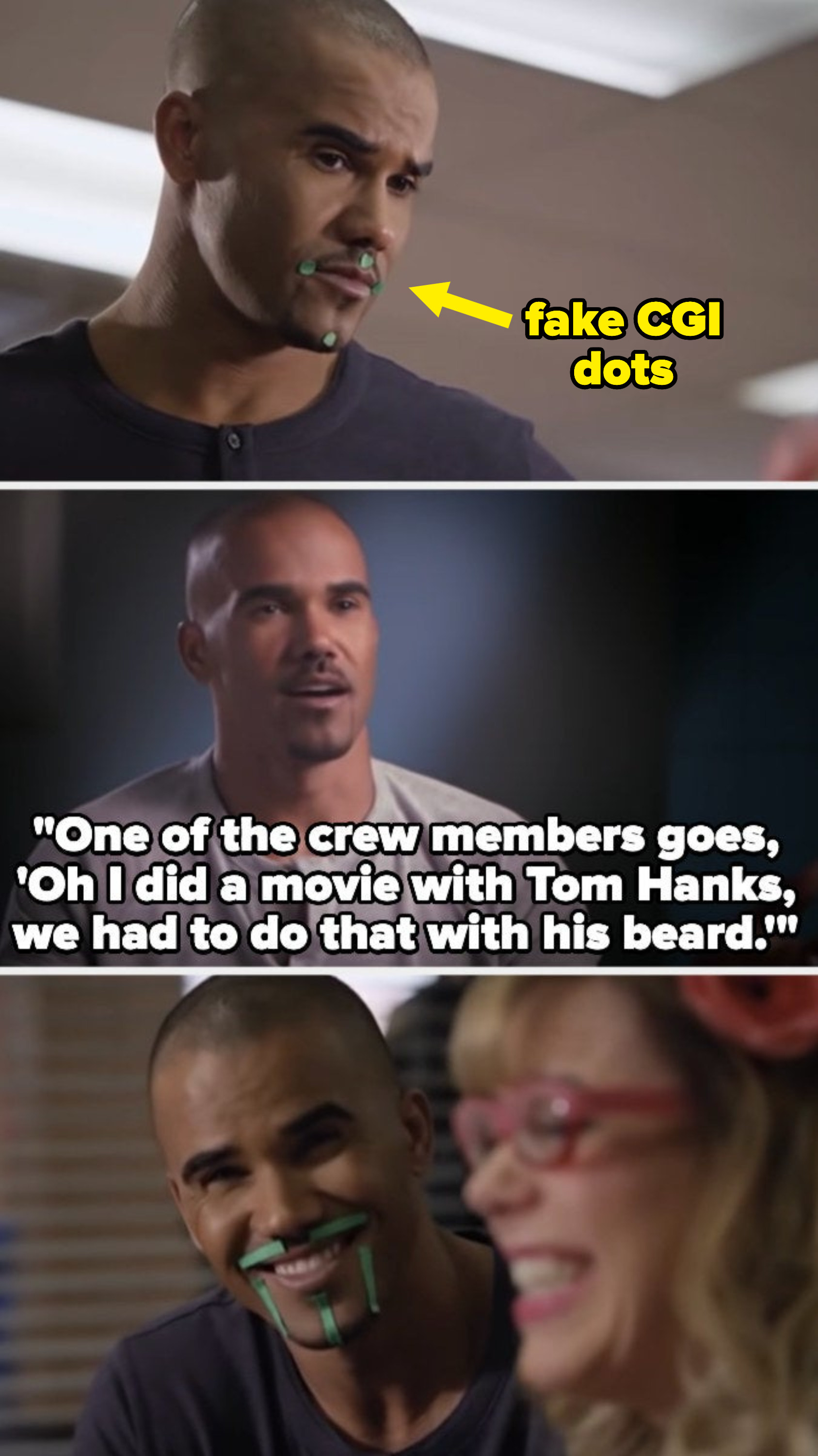 Shemar with green dots on his face for his goatee