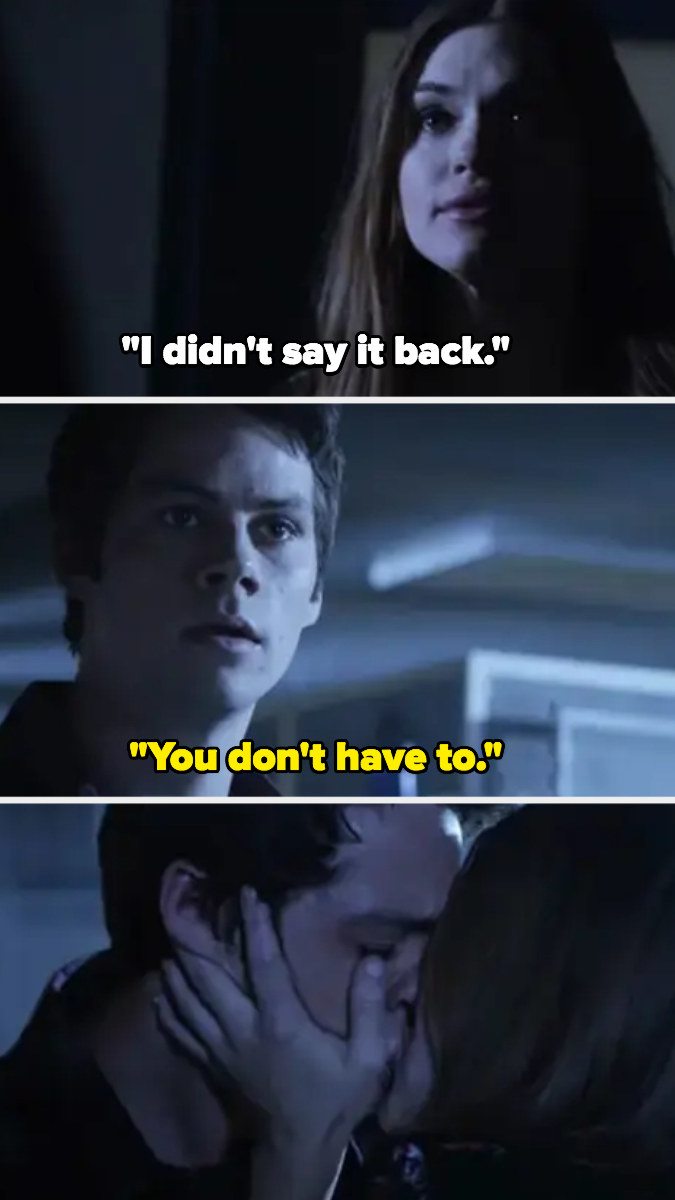 """Lydia: """"I didn't say it back,"""" Stiles: """"You don't have to"""""""