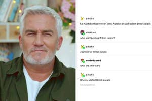 A tumblr post making fun of Brits, Australians, and Americans next to a photo of Paul Hollywood looking judgmental