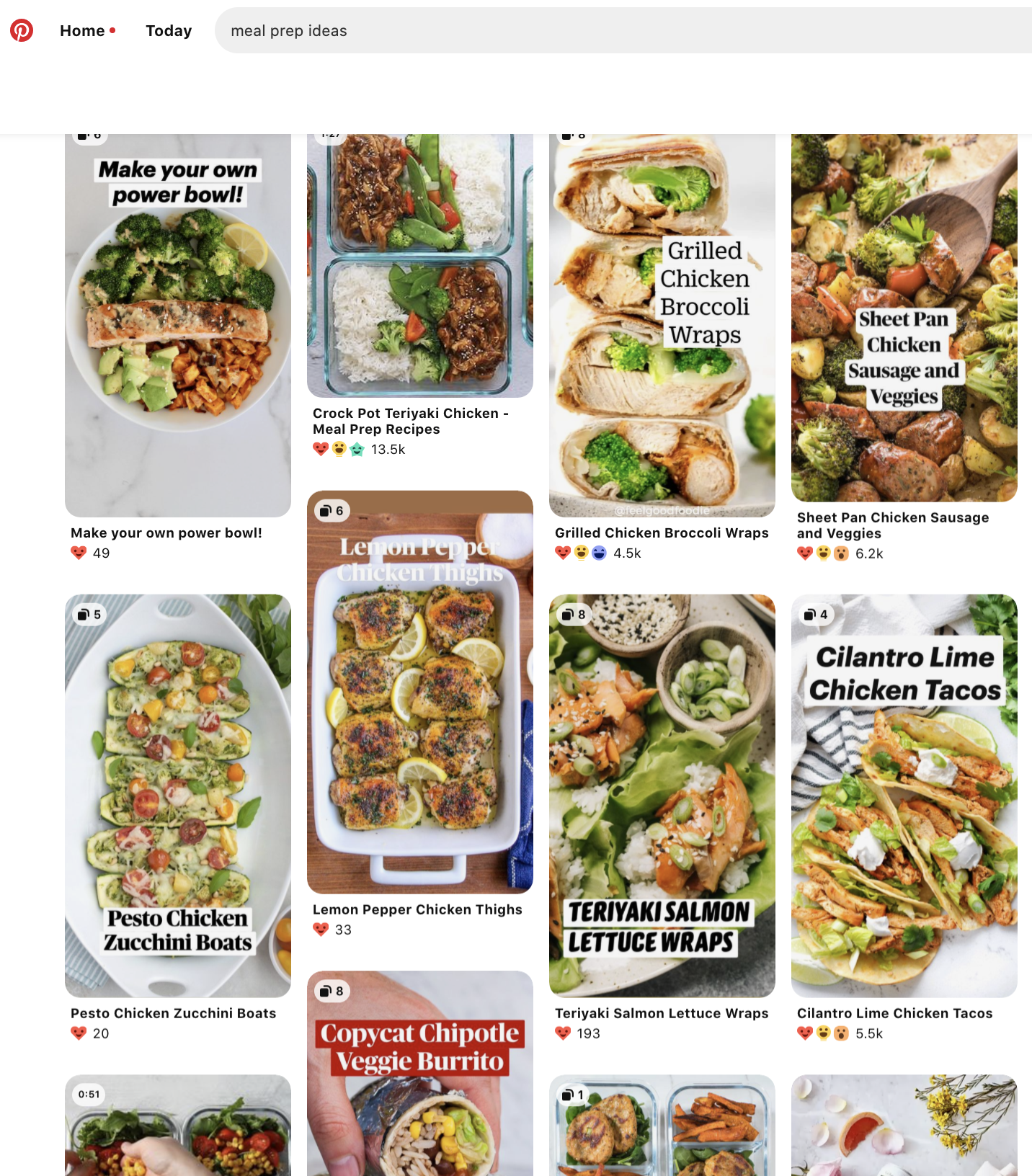 A Pinterest board of saved meal prep recipes
