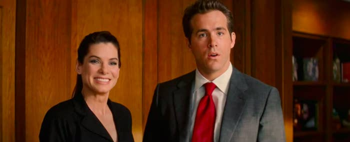 """Margaret and Andrew from """"The Proposal"""" looking uncomfortable"""