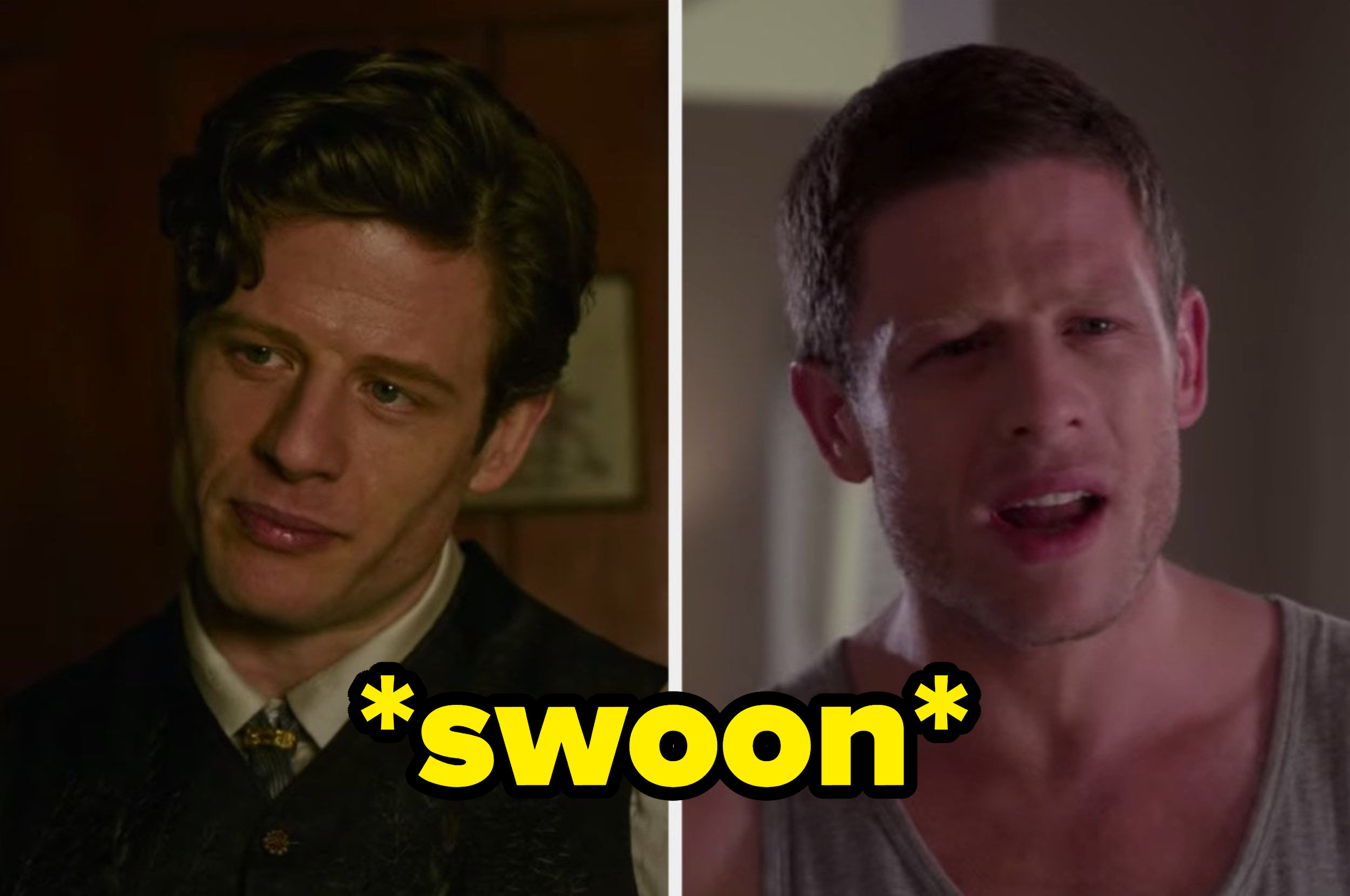 """James Norton looking classy in """"The Nevers"""" and more casual in """"Black Mirror"""" with the caption """"swoon"""""""
