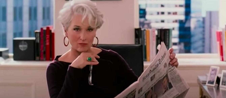 """Miranda Priestly looking annoyed in """"The Devil Wears Prada"""""""