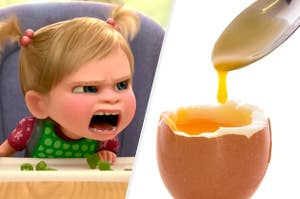 A toddler yelling at a runny egg